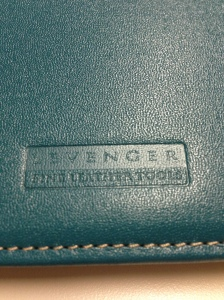 The Levenger stamp on the outside bottom of the back cover